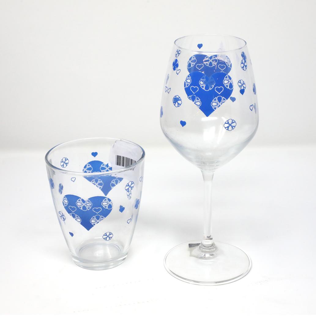 Calici Vino E Acqua dettagli su servizio di calici vino e bicchieri acqua in vetro blu 12pezzi  omnia casa hearts