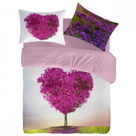 Lenzuola Matrimoniali Rosa.Completo Lenzuola Matrimoniale In Cotone Stampa Cuore Albero Rosa