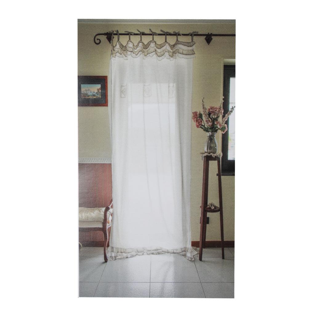 Coppia tendine a vetro per finestra fancy home shabby clarisse grigio 60x150 cm ebay - Tendine vetro finestra ...