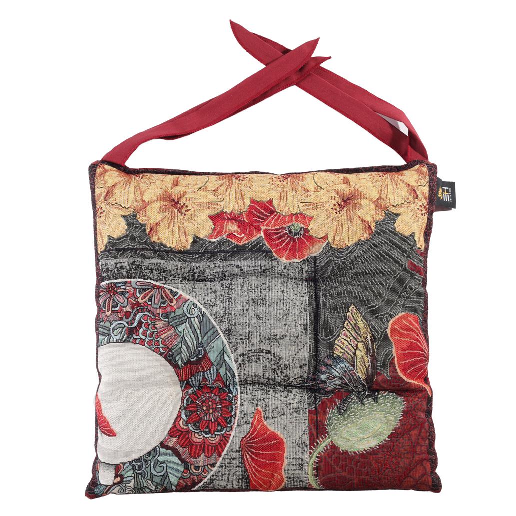 Dettagli su Cuscino Sedia Cucina Rosso Floreale In Gobelin Con Lacci Emily Home Eden 40 cm