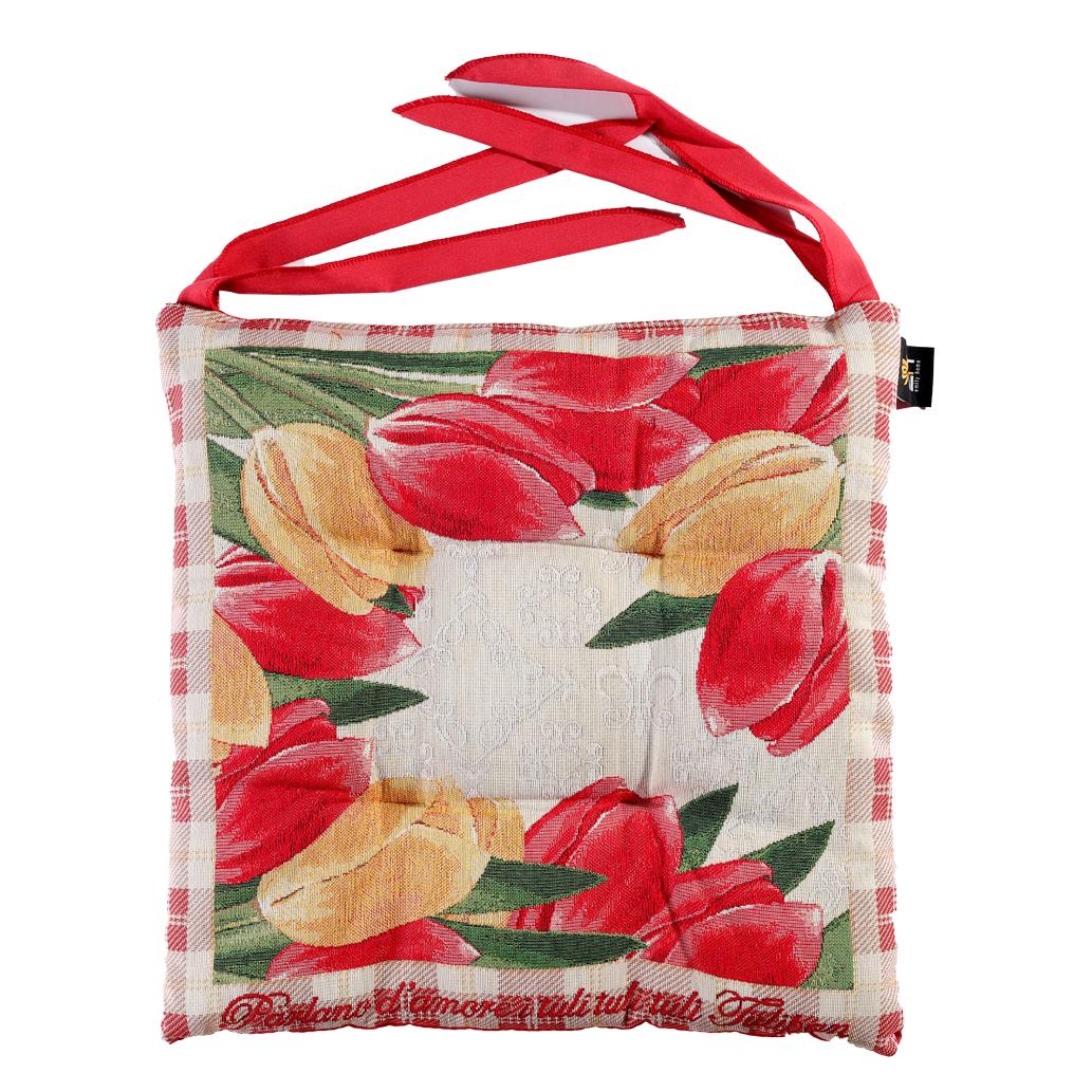 Dettagli su Cuscino Per Sedie Cucina In Gobelin Fiori Tulipani e Lacci Rossi 40Cm Emily Home