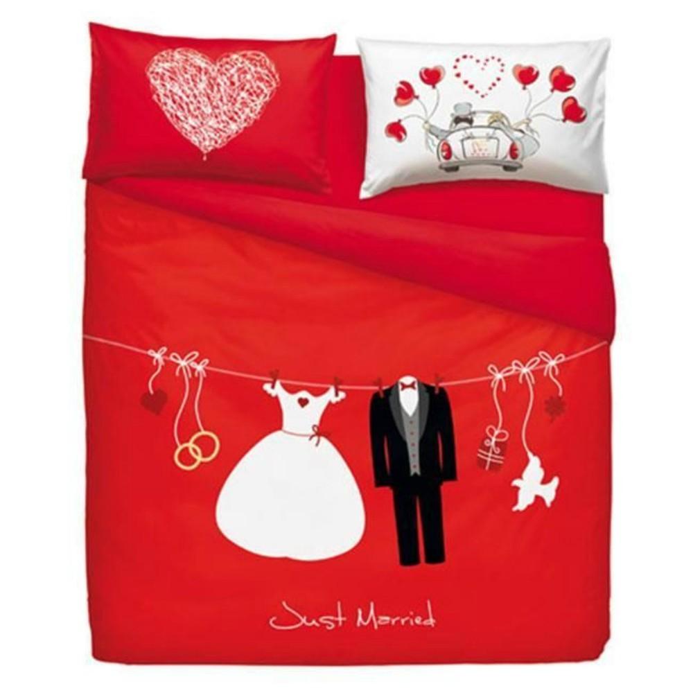 Completo Copripiumino Matrimoniale Bassetti Imagine Love Is A Couple Puro Cotone Ruocco Home