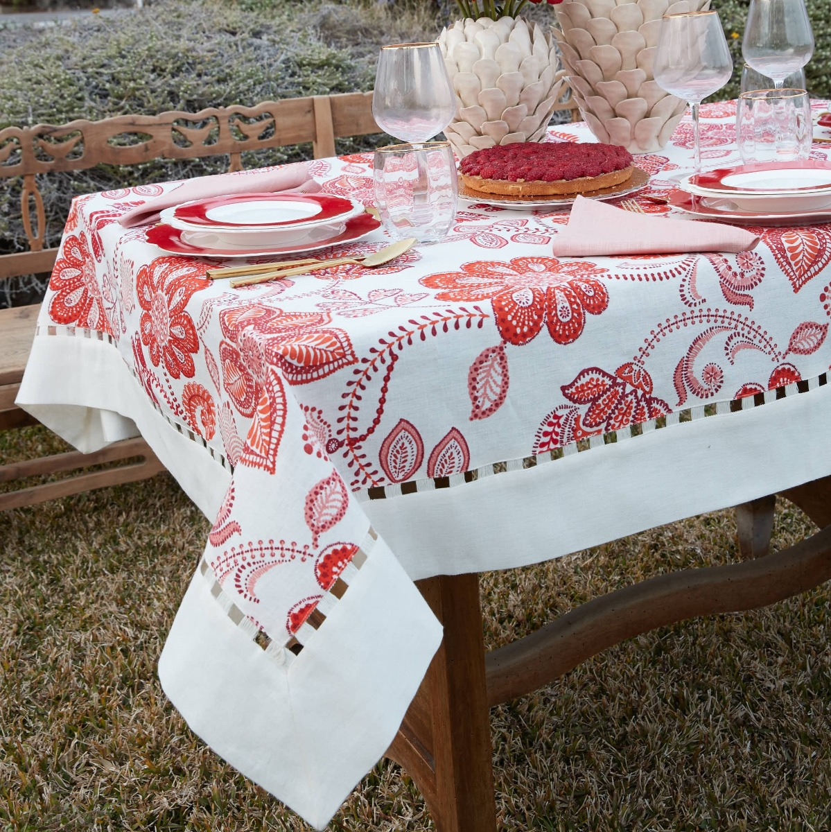 Tovaglia Da Tavola Moderna dettagli su tovaglia in lino floreale moderna rossa preziosa luxury home  gisele